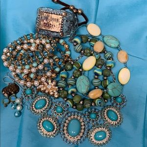 Bundle of turquoise colored costume jewelry.